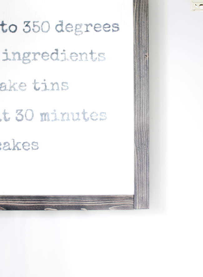 Learn how to make recipe wall art for your kitchen or dining room. Celebrate a favorite family recipe with a large, rustic, recipe board.